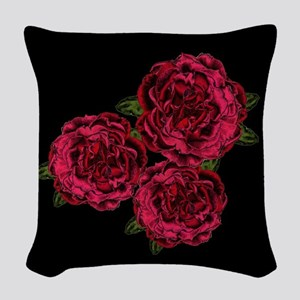 Red Goth Roses Woven Throw Pillow