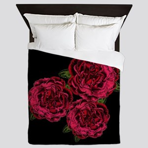 Red Goth Roses Queen Duvet