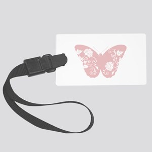 Pink Floral Butterfly Luggage Tag