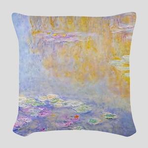Monet Water Lilies 7 Woven Throw Pillow