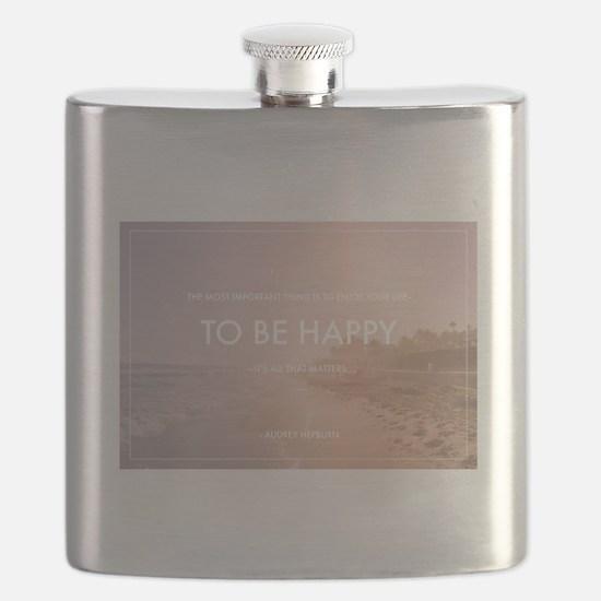 Audrey Hepburn - Happy Quote Flask