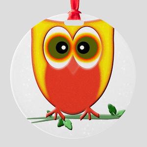 Jazzy Owl Art Round Ornament