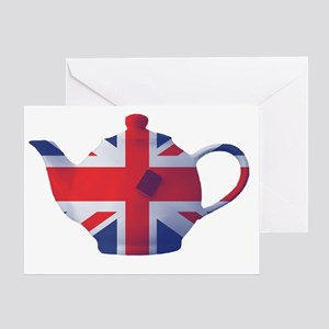 Union Jack Flag Teapot Art Greeting Card