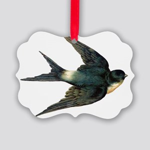 Vintage Swallow Bird Art Picture Ornament