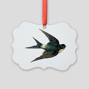 Vintage Swallow Bird Art Picture Ornament
