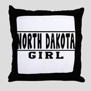 North Dakota Girl Designs Throw Pillow