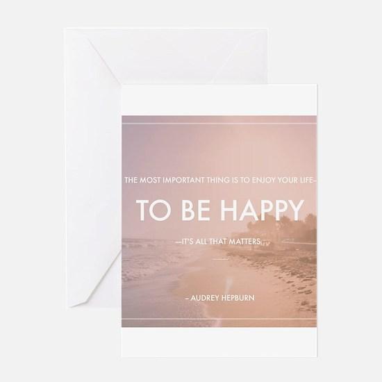 Audrey Hepburn - Happy Quote Greeting Cards