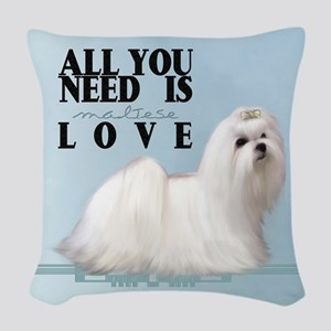Maltese Woven Throw Pillow