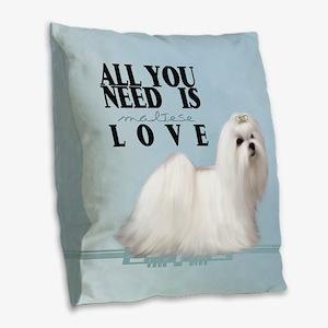 Maltese Burlap Throw Pillow