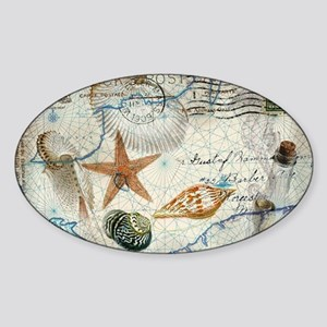 vintage girly seashells nautical an Sticker (Oval)