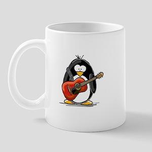 Red Acoustic Guitar Penguin Mug