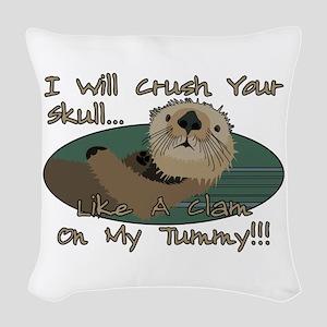 Otter Skull Crush Woven Throw Pillow