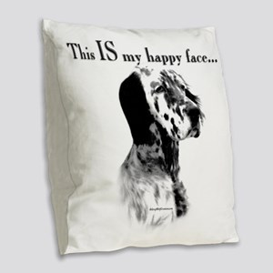 Englilsh Setter Happy Face Burlap Throw Pillow
