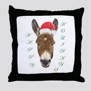 Santa Donkey! Throw Pillow