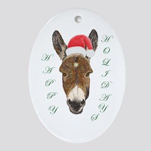 Santa Donkey! Oval Ornament