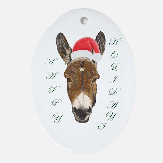 Santa Donkey! Oval Ornament
