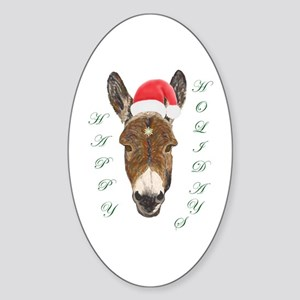 Santa Donkey! Oval Sticker