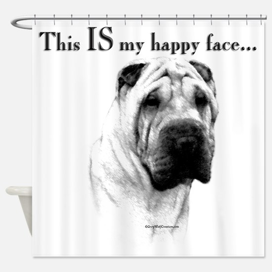 Chinese Sharpei Happy Face Shower Curtain