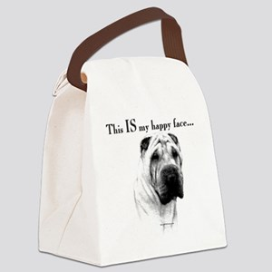 Chinese Sharpei Happy Face Canvas Lunch Bag