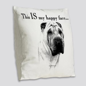 Chinese Sharpei Happy Face Burlap Throw Pillow
