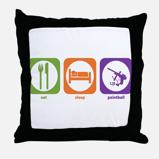 Eat Sleep Paintball Throw Pillow