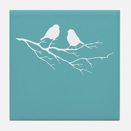 Two Little white Sparrow Birds Blue Shade Tile Coa