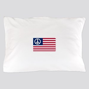 Patriotic American Flag Red White and Peace Pillow