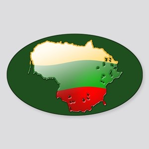 """""""Lithuania Bubble Map"""" Oval Sticker"""