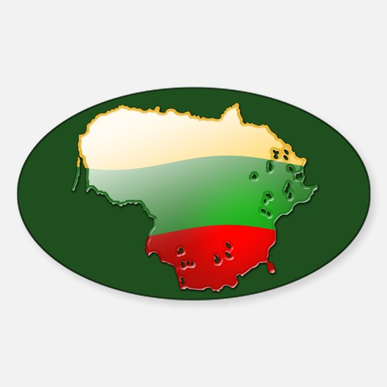 """Lithuania Bubble Map"" Oval Decal"