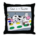 Cows in a Twister Throw Pillow