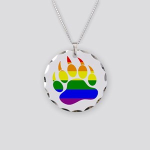 GAY Bear Rainbow Paw Necklace Circle Charm