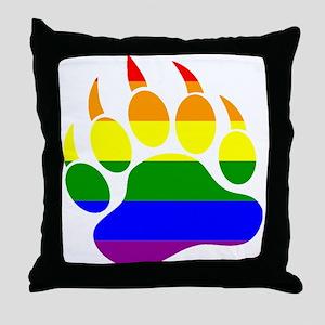 GAY Bear Rainbow Paw Throw Pillow