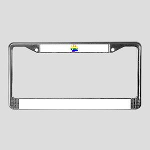 GAY Bear Rainbow Paw License Plate Frame