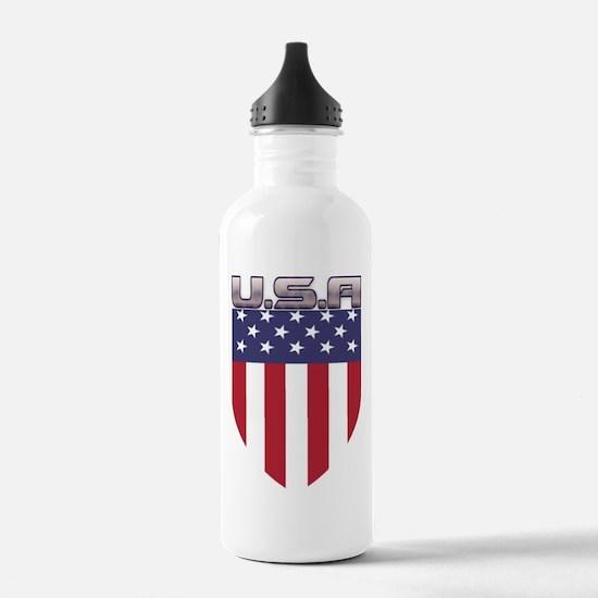 Patriotic American Flag Shield Water Bottle