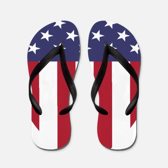 Patriotic American Flag Shield Flip Flops