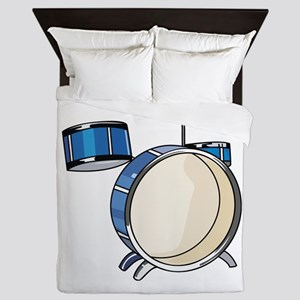 drumset simple three piece blue Queen Duvet