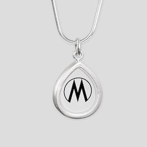 Monroe Republic Logo Silver Teardrop Necklace