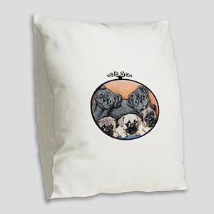 Pug Party Burlap Throw Pillow