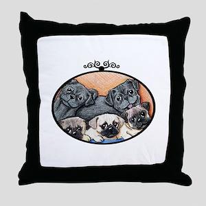 Pug Party Throw Pillow