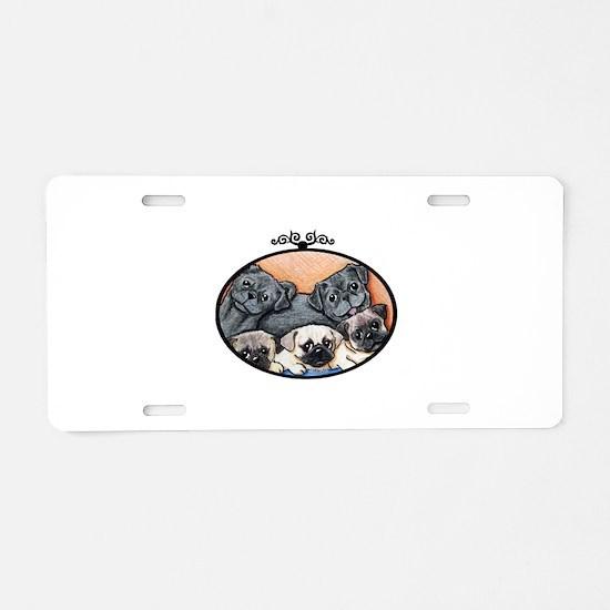 Pug Party Aluminum License Plate
