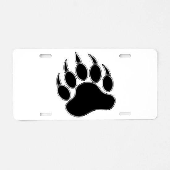 GAY BEAR PRIDE Gay Bear Paw Aluminum License Plate