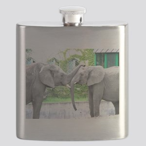 Love Kiss and hug elephants lovers Flask