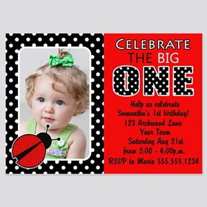 Ladybug first birthday invitations and announcements cafepress cute red ladybug first birthday photo invite invit filmwisefo