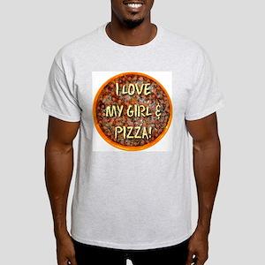 I Love My Girl & Pizza Ash Grey T-Shirt
