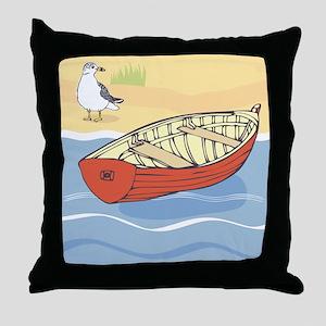 Beach Boat Throw Pillow
