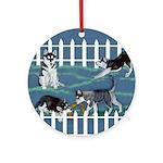 Siberian Husky Puppy Pen Ornament (Round)