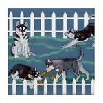 Siberian Husky Puppy Pen Tile Coaster