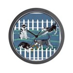 Siberian Husky Puppy Pen Wall Clock