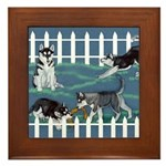 Siberian Husky Puppy Pen Framed Tile