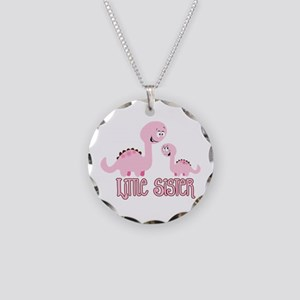 Little Sister Dinosaur Necklace Circle Charm